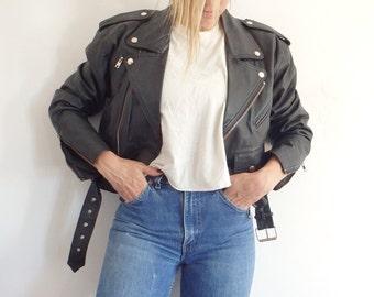 Moto Jacket Vintage Black Leather