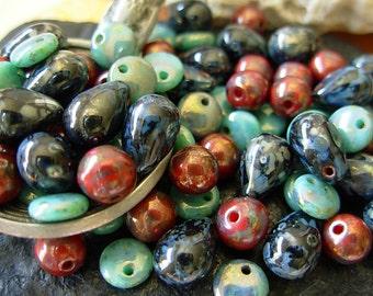 Czech Picasso Beads, Assorted Beads, Teardrop Beads, 6mm Lentil (#4LP)