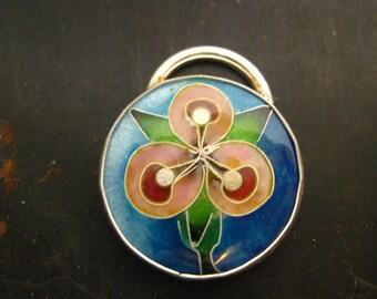 """Cloisonne Enamel """"Orchid"""" Pendant"""