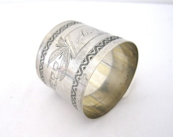 Antique A.N. Monogrammed Napkin Ring, Victorian Silverplate Napkin Ring