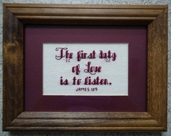 First Duty of Love - Inspirational Cross Stitch Picture - Wall Decor