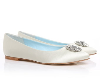 White Bridal Flats Wedding Flats Shoes with Crystal and Rhinestones Oval Trim Bridal Shoes - DYEABLE something blue