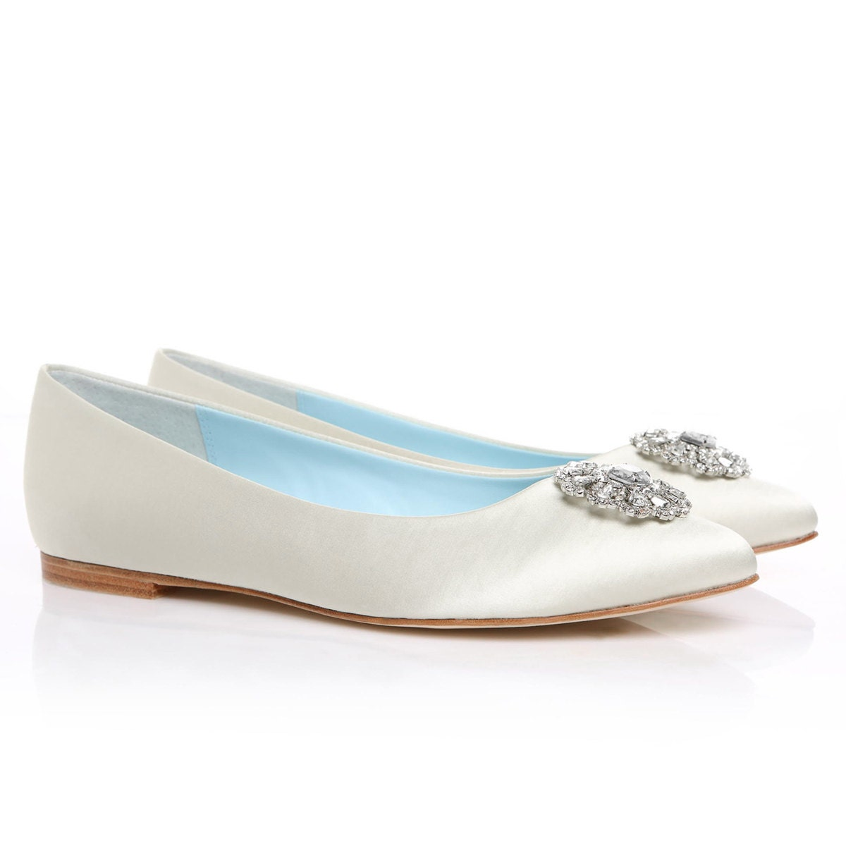 White Bridal Flats Wedding Flats Shoes With Crystal And