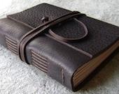 "Leather journal, rustic dark brown, 4"" x 6"", handmade journal by Dancing Grey Studio(1809)"