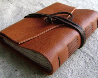"Leather journal, rustic orange-brown, 4"" x 6"", handmade journal by Dancing Grey Studio (0056)"