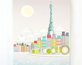 Paris Wall Art, Skyline, Eiffel Tower, Seine, Framed Canvas Illustration, Home, Office and Nursery Decor, Pastels, Retro Vintage PSBCW01