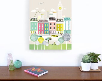 London Skyline Large Framed Canvas Wall Art, Large Print, Big Ben, England, illustration, Home decor, Nursery, ready to hang, pastel green