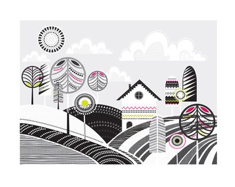 Woodland Cabin : Scandinavian styled, folk Art Print