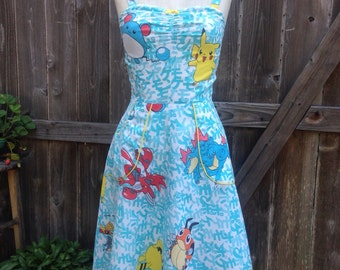 Pokemon Pin UP Dress OOAK Recycled