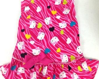 Pink Hello Kitty Knit Tank Dog Dress Size XXXS through MEDIUM by Doogie Couture