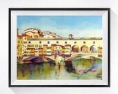 Florence Italy Boat Art / Watercolor Art PRINT / Landscape painting / Ponte Vecchio / Italian landscape / Italian bridge -  BCBT