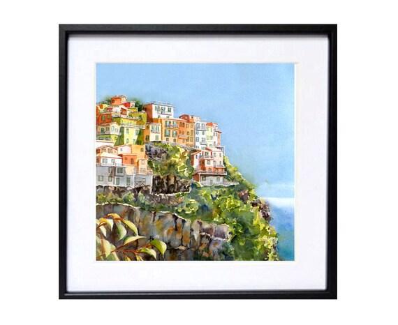 Italian landscape art / Fine Art Watercolor PRINT / Cinque Terre, Italy / Italian village / Blue painting / Home interior decor / L