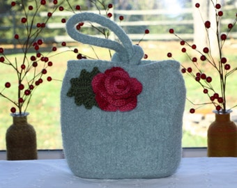 hand knit felted bag