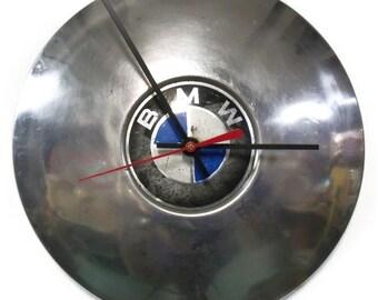 BMW Hub Cap Wall Clock - 1967 - 1973 BMW 2002 Hubcap - 1968 1969 1970 1971 1972 - Man Cave Automotive Decor