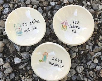 Personalized Dish, New Home, Housewarming, Keepsake, Small Dish, Ceramic Bowl, Pottery Bowl, Organic, Trinket Dish, Address, Name, Handmade