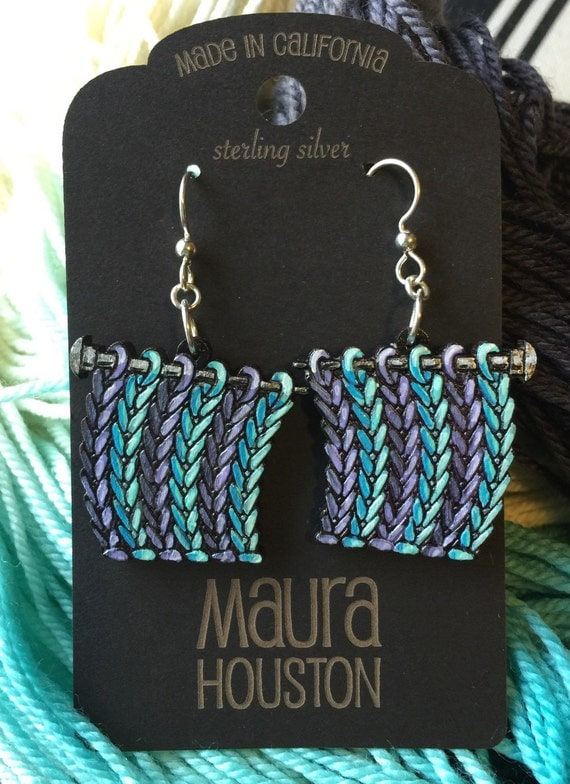 Hand painted knitting earrings. Custom yarn colors available.