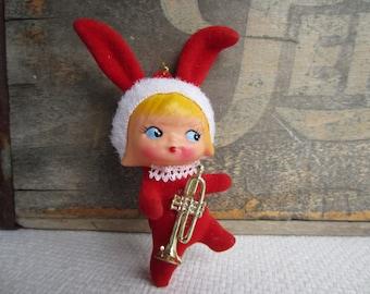 Vintage Kitsch Santa Girl Bunny Ears Flocked Christmas Ornament