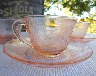 Vintage Depression Glass Pink Dogwood MacBeth Evans Cup and Saucers Cereal Bowl