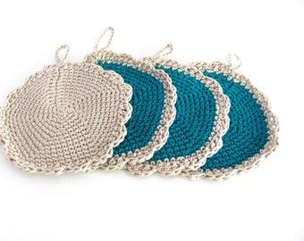 Crochet Coasters -kitchen decoration--Chrsitmas gift--Set of 3----Home & Living