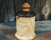 Small Wood Box with Lid - Hand Turned Lidded Wooden Box - Maple and Walnut Woods Wooden Box with Lid