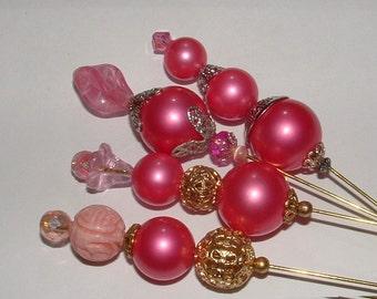 "PEARL MANIA HATPINS- in deep pink- vintage beads - my own designs 8"" pins--- 4 pack"