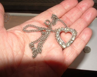 authentic 1950s HEART NECKLACE RHINESTONES- with nice chain  looks like sterling hefty unsigned all original