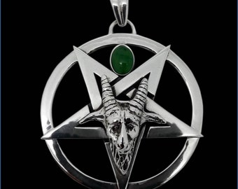 925 Solid Sterling Silver Sigil of Baphomet Evil Sabbatic Goat Pentacle Pendant - with Jade