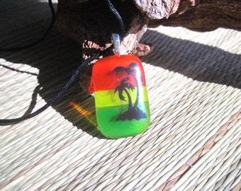 Palm Tree Fused Glass Pendant