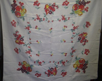 1950s Print Kitchen Table Cloth - Deco Fruit