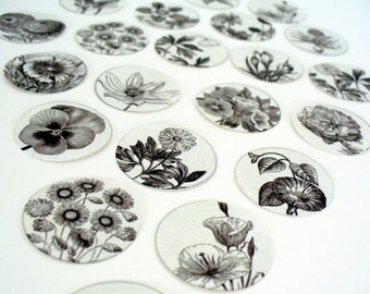 ON SALE Stickers Envelope Seals Flowers Black and White Drawings SES10