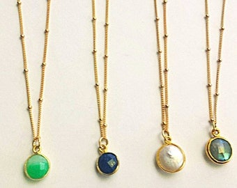 Gold filled Satellite chain necklace,  Chrysoprase pendant, vermeil layering, boho, gift, green, blue, ocean, bridesmaid