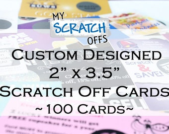 """Custom Scratch Off Cards 2 x 3.5"""" Business Cards Scratch-Off Promotions Cards - 100 Quantity"""