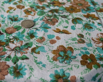 Vintage Mod Floral Fabric 1960s New Look Flower Power