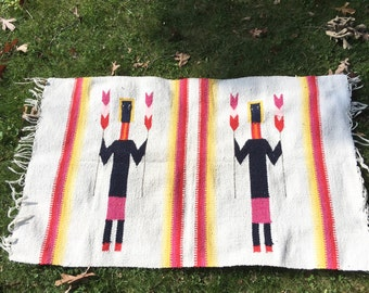 Vintage Southwestern Yei Rug Geometric Navajo Aztec Arrows Feathers SALE