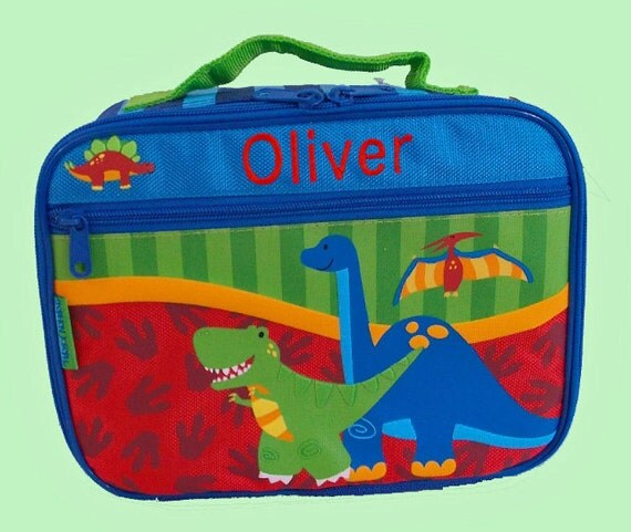 Personalized Stephen Joseph NEW STYLE DINO Lunchbox In Blue And Green For Children-Monogramming Included In Price