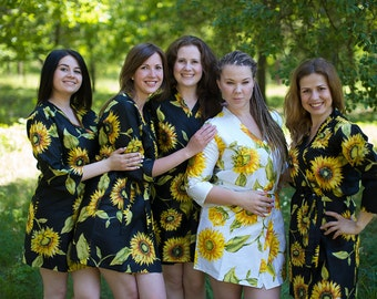 Black Sunflower Bridesmaids robes | Kimono Style getting ready robes for wedding day, wedding favors, Bridesmaids gift, Bridesmaid Robes