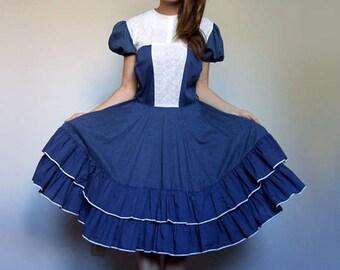 Vintage Navy Dress 70s Prairie Dress Swiss Dot Dress Halloween Dress Dolly Dress Circle Skirt - Extra Large XL