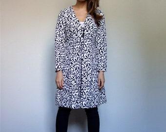Black White Coat Vintage Floral Jacket Women Spring Jacket Dress Coat V Neck Minimalist - Medium to Large M L