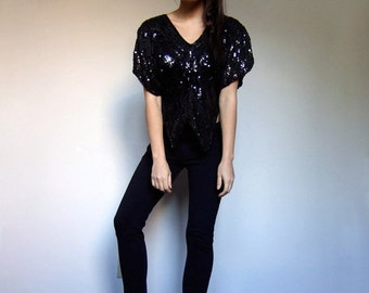 Black Sequin Top Disco Butterfly Late 70s 80s Vintage Metallic Silk Cropped New Years Eve Party Blouse Outfit - Small to Medium S M