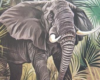 Elephant Nursery Art Decor Earth Tone Bedroom Decor Animal Illustration Book Page Wall Art