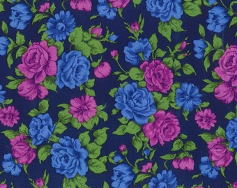 "Blue and Purple Rose Print Challis, Gertie by Gretchen Hirsch Fabric, 54"" wide, 1 yard"
