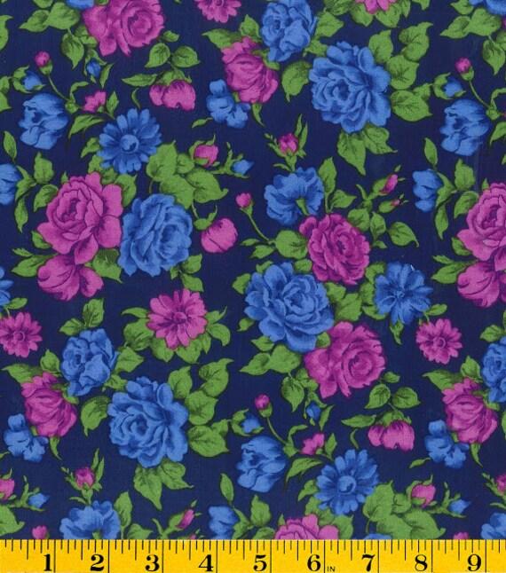 "Blue and Purple Rose Print Challis, Gertie by Gretchen Hirsch Fabric, 54"" wide, 1 yard"