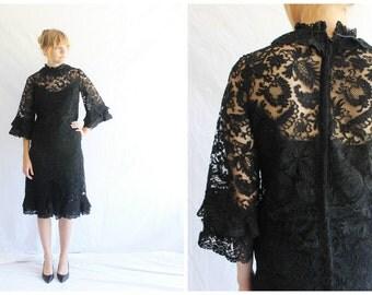 SALE vintage 60s dress | black lace cocktail dress | lbd 60s party dress
