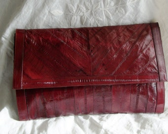 Vintage 1940s Style Ruby Red Eelskin Large Clutch Purse Huge Envelope Style Exec Cond