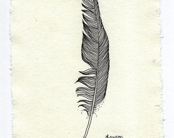 Original ink feather drawing ~ black feather, modern minimalist