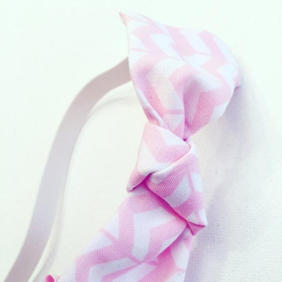 Pink & White Cotton Chevron Printed Headband
