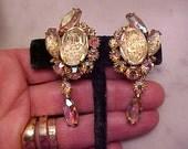Vintage JULIANA Rhinestone Earrings Oval Geode Drops Auroras DELIZZA Elster STATEMENT Sz Gorgeous