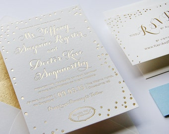 Custom Gold Foil Wedding Invitation Set  - Charlotte