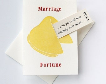 Letterpress Marriage and Wedding card- Fortune Cookie Marriage Happy Ever After