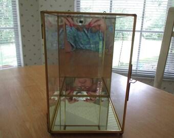 vintage glass and brass display box